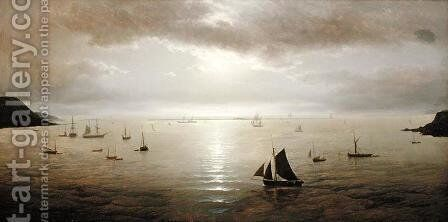 Plymouth Sound by Moonlight by David James - Reproduction Oil Painting