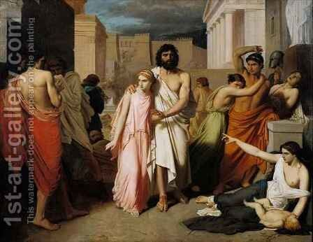 Oedipus and Antigone or The Plague of Thebes by Charles François Jalabert - Reproduction Oil Painting