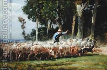 A Shepherd with a Flock of Sheep by Charles Emile Jacques - Reproduction Oil Painting
