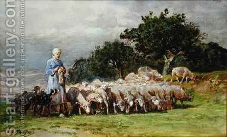 A Shepherdess with a Flock of Sheep by Charles Emile Jacques - Reproduction Oil Painting