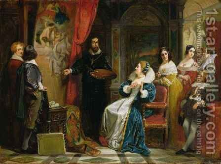 Marie de Medici 1573-1642 Visiting the Studio of Rubens by Claude Jacquand - Reproduction Oil Painting