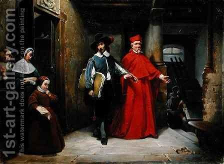 A Cardinal Looking for Ribera in his Studio in Naples by Claude Jacquand - Reproduction Oil Painting
