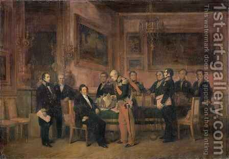 Council of Ministers at the Tuileries Signing the Law of Regency by Claude Jacquand - Reproduction Oil Painting