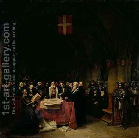 The Chapter of the Order of St John of Jerusalem held in Rhodes in 1524 by Claude Jacquand - Reproduction Oil Painting