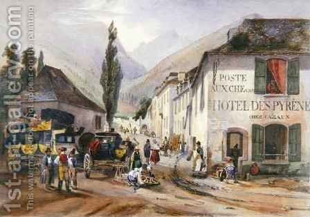 Arrival and Repair of a Stagecoach at Luz on the Road to Barreges by (after) Jacottet, Jean - Reproduction Oil Painting