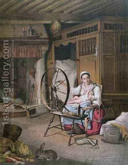 Interior of a Breton home by Henriette Jacott Cappellaere - Reproduction Oil Painting