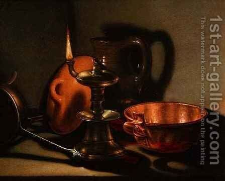 A Still Life with an oil lamp by Cornelis Jacobsz Delff - Reproduction Oil Painting