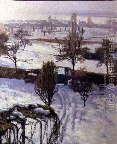 View of Geneva in Winter by Jacques Jacobi - Reproduction Oil Painting