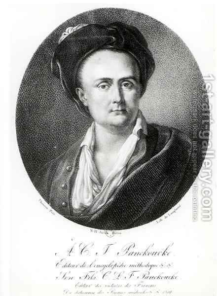 Medallion portrait of Andre Charles Joseph Panckoucke 1736-98 by (after) Jacob, Nicolas Henri - Reproduction Oil Painting