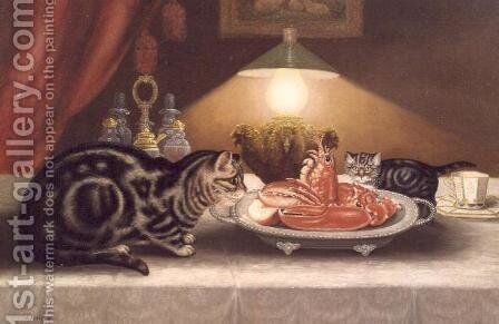 Still Life of Cats and a Lobster by A. Jackson - Reproduction Oil Painting