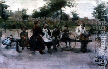 The Park Bench Amsterdam by Isaac Israels - Reproduction Oil Painting