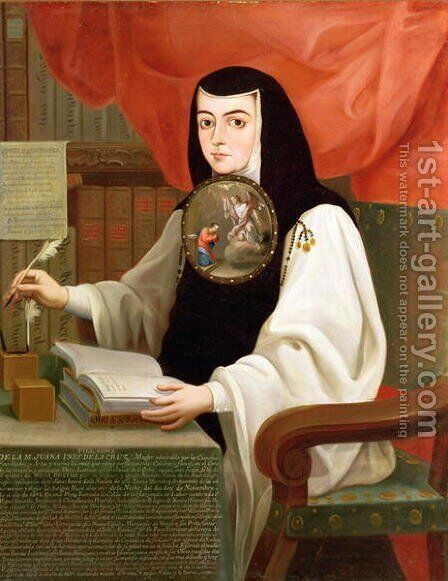 Sister Juana Ines de la Cruz 1648-95 by Andres de Islas - Reproduction Oil Painting