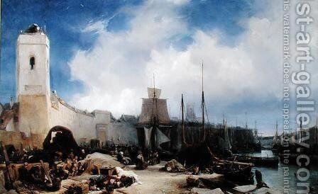 The Port of Dunkirk by Eugène Isabey - Reproduction Oil Painting