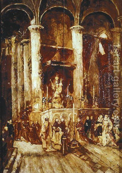 Procession in a Church by Jean-Baptiste Isabey - Reproduction Oil Painting