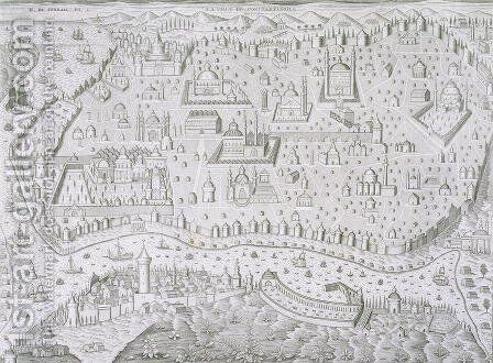 Town map of Constantinople Turkey by Jaspar de Isaac - Reproduction Oil Painting