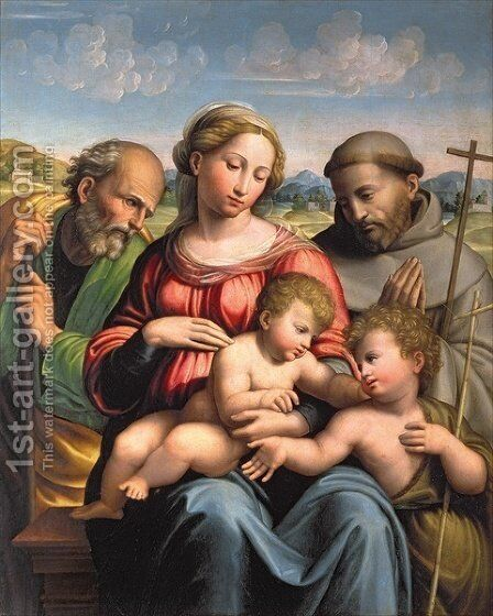 Holy Family with the Infant St John the Baptist and St Francis by da Imola (Francucci) - Reproduction Oil Painting
