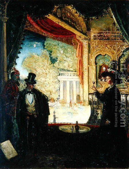 A Scene in a Theatre A Performance Seen from a Box in which Three figures are Standing by James Dickson Innes - Reproduction Oil Painting