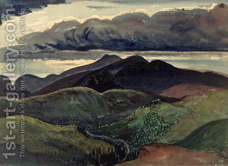 The Dark Mountains Brecon Beacons by James Dickson Innes - Reproduction Oil Painting