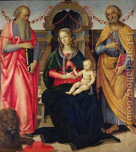 Virgin and Child between St Jerome and St Peter by Andrea Ingegnio - Reproduction Oil Painting