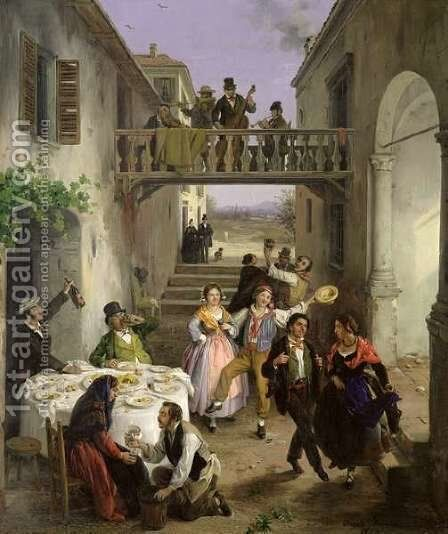A Wedding at Brianza by Angelo Inganni - Reproduction Oil Painting