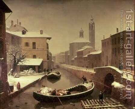 Boat under the Snow by Angelo Inganni - Reproduction Oil Painting