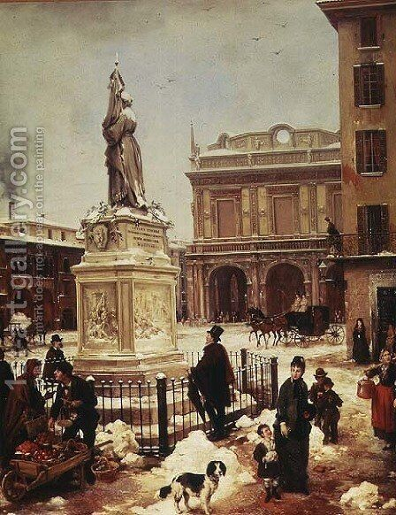 Piazza della Loggia under Snow by Angelo Inganni - Reproduction Oil Painting