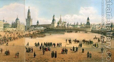 St Basils Cathedral seen from the Kremlin by (after) Indieitzeff, Dmitri - Reproduction Oil Painting
