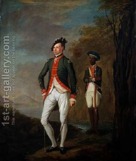 A British Officer of a Madras Sepoy Battalion Attended by a Sepoy Servant by (attr. to) Imhoff, Carl C.A. von - Reproduction Oil Painting