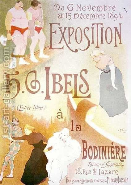 Reproduction of a poster advertising an Exhibition by H G Ibels at the Bodiniere Rue St Lazare Paris by Henri-Gabriel Ibels - Reproduction Oil Painting