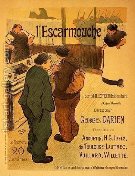 Reproduction of a poster advertising LEscarmouche a weekly illustrated journal by Henri-Gabriel Ibels - Reproduction Oil Painting