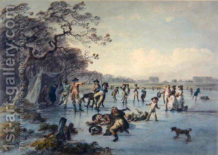 Skating in Hyde Park by Julius Caesar Ibbetson - Reproduction Oil Painting