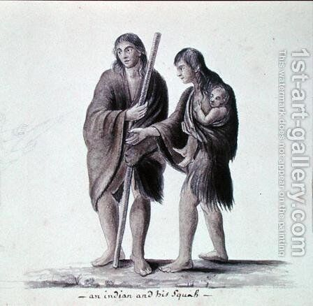 An Indian and his Squaw by Anne Marguerite Hyde de Neuville - Reproduction Oil Painting