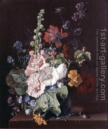 Hollyhocks and Other Flowers in a Vase by Jan Van Huysum - Reproduction Oil Painting