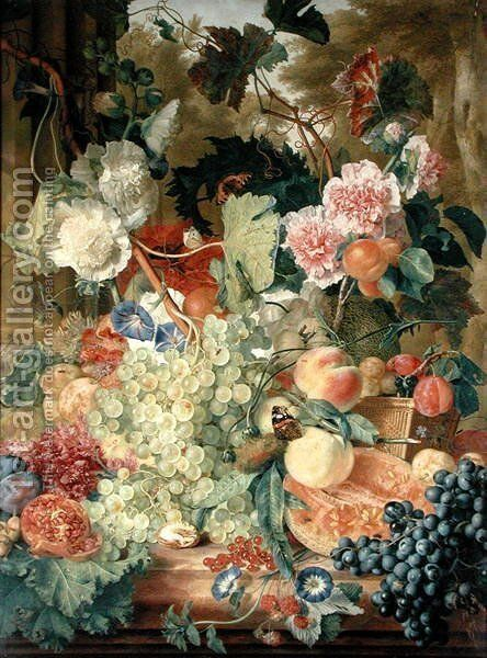 Fruit Flowers and Insects by Jan Van Huysum - Reproduction Oil Painting