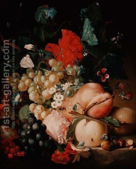 Mixed Flowers and Fruit with Insects on a Marble Plinth by Jan Van Huysum - Reproduction Oil Painting