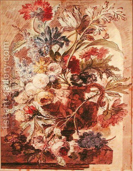 Bouquet of Flowers in a Vase by Jan Van Huysum - Reproduction Oil Painting