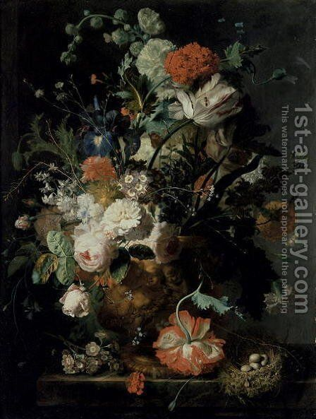 Roses Flowers Carnations by Jan Van Huysum - Reproduction Oil Painting