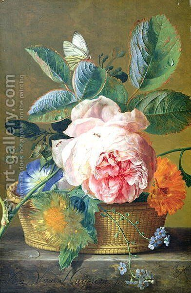 A Basket with Flowers by Jan Van Huysum - Reproduction Oil Painting