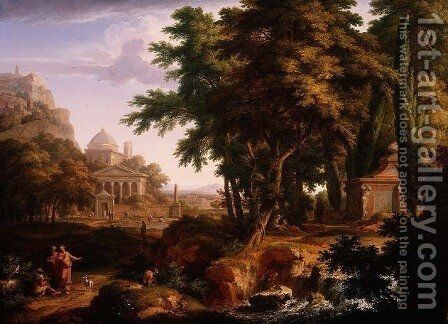 Arcadian Landscape with St Peter and St John Healing the Crippled Man by Jan Van Huysum - Reproduction Oil Painting