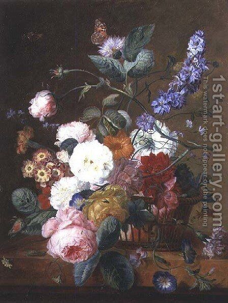 Still life with Flowers in a Basket by Jan Van Huysum - Reproduction Oil Painting