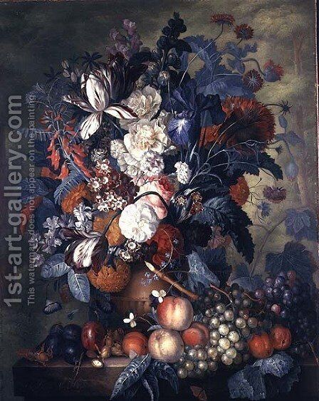 A Vase of Flowers with Fruit by Jacob van Huysum - Reproduction Oil Painting