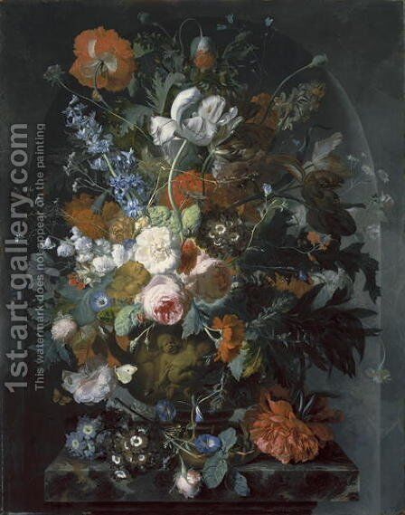 Vase of Flowers in a Niche by Jacob van Huysum - Reproduction Oil Painting