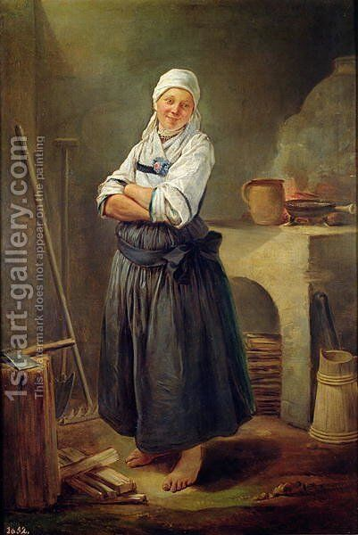 A Saxon Villager in her Kitchen by Charles-Francois Hutin - Reproduction Oil Painting