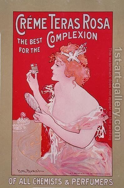 Poster advertising the beauty cream Teras Rosa by Hal Hurst - Reproduction Oil Painting