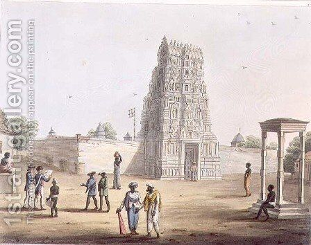 A Pagoda at Strupermador by (after) Hunter, Lieutenant James - Reproduction Oil Painting