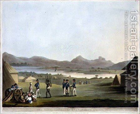 The Royal Artillery Encampment Arcot by (after) Hunter, Lieutenant James - Reproduction Oil Painting