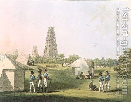 A View from the Royal Artillery Encampment Conjeveram by (after) Hunter, Lieutenant James - Reproduction Oil Painting