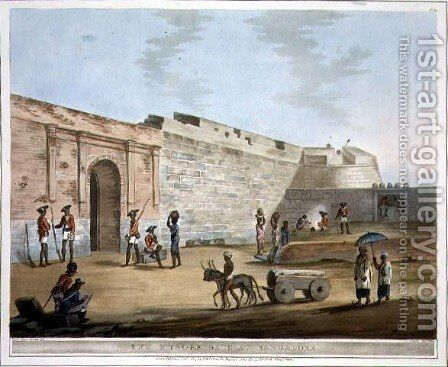 The Mysore Gate at Bangalore by (after) Hunter, Lieutenant James - Reproduction Oil Painting
