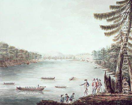 A View of Ticonderoga from a point on the north side of Lake Champlain by James II Hunter - Reproduction Oil Painting