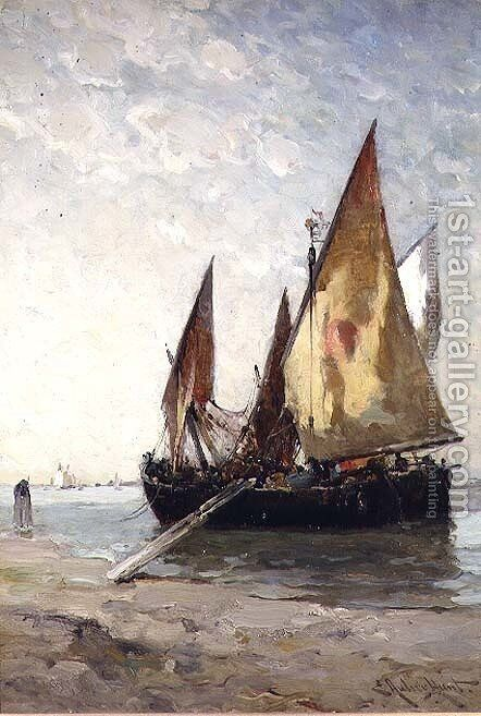 Fishing Boats Moored on the Beach by Edward Aubrey Hunt - Reproduction Oil Painting